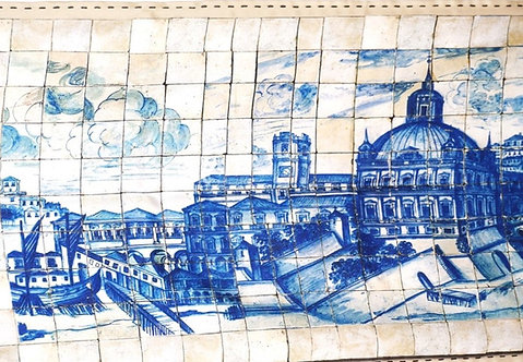 """Foulard Marquise """"Mosaïque Lisbonne"""" bleu 5794"""