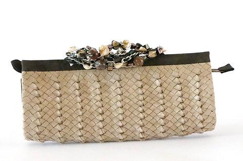Trianon daim tressé beige bracelet pierres 5296