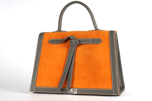 Sac Marquise  daim orange & cuir gris 6588