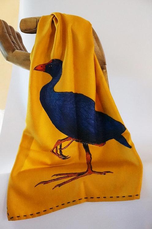 "Marquise foulard ""ibis &poule sultane"" safran"