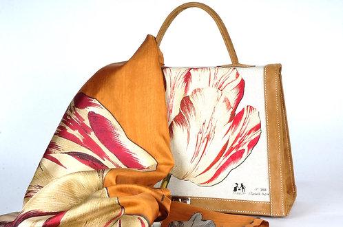 "Foulard   "" la tulipe & le geai "" rouge & gold"
