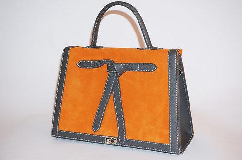 Marquise daim orange & cuir gris      5700