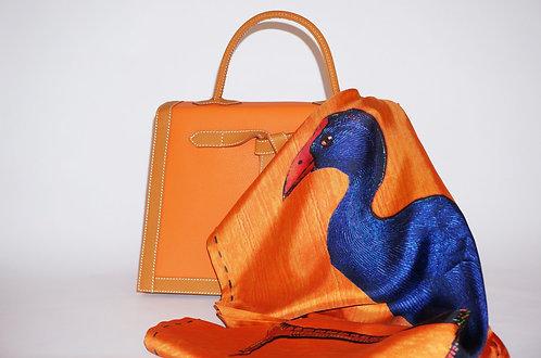 "Foulard Soie ""Ibis & Poule Sultane"" Orange"