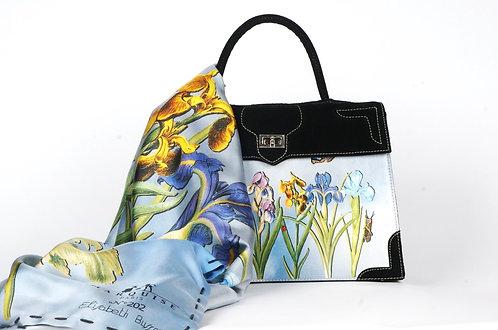 "Foulard   ""Nature les  Iris bleues """