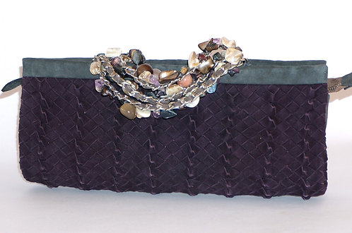 Trianon pochette bracelet daim prune 5575