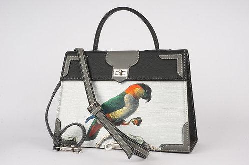 "Medicis cuir noir & gris toile ""Perroquets""7860"