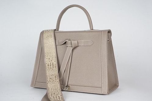 """Marquise cuir taupe toile """"perles cuivre"""" 7234"""