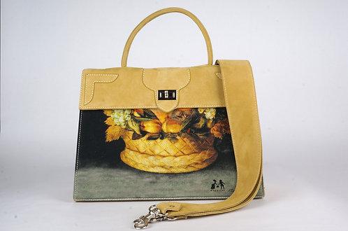 "Marquise daim jaune ""Arcimboldo  Bonhomme ou panier de fruits""8784"