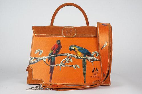 """Marquise  daim cognac """" Les Perroquets oranges"""" 1374"""