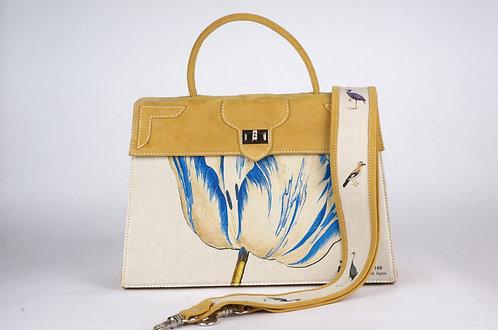 "Marquise daim jaune toile ""la tulipe bleue & le geai ""8787"