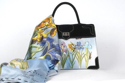 Sac Marquise daim noir Nature les Iris bleues 9394
