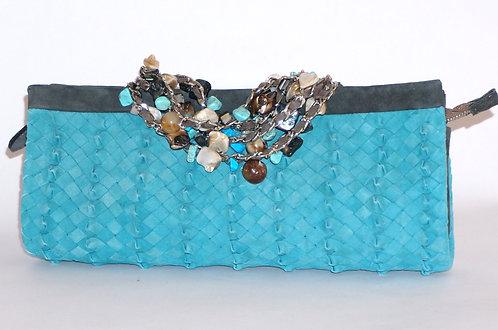 Trianon pochette bracelet daim turquoise 5578
