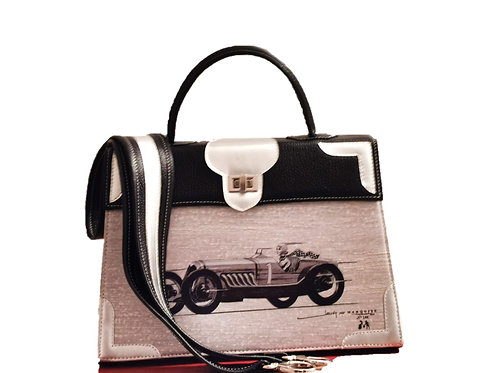 """Marquise cuir noir & champagne """"La voiture""""11021"""