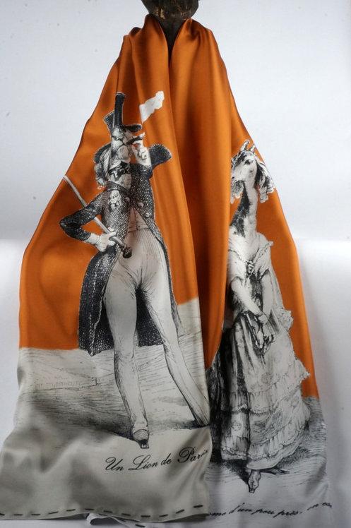 """Foulard   """" le lion & la girafe """" cognac"""