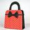 Thumbnail: Sévigné en toile pois rouges cuir noir 7114