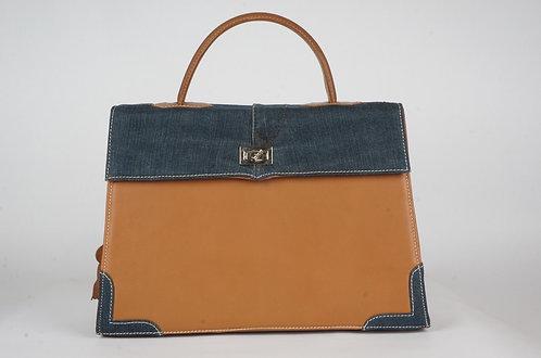 Medicis cuir gold & jean bleu 8663