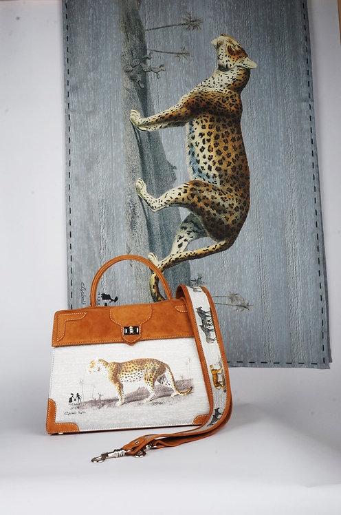 "Foulard   "" La panthère & le tigre "" aqua"
