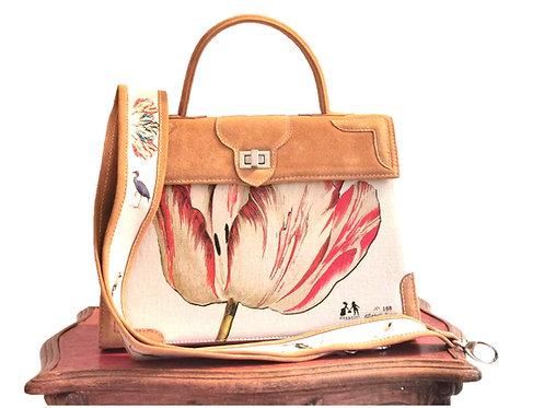 "Marquise daim miel  toile ""la tulipe rouge"" 10096"