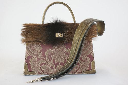 Pouchkine damassé & rayures cuir bronze & fourrure 1251