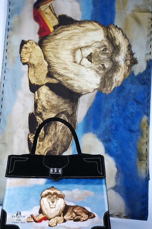 """Foulard """"le lion sur le toit du monde"""" bleu royal"""