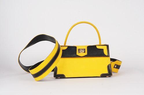 Mini Girly Marquise cuir noir daim jaune 9253