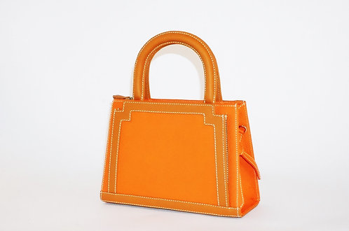 Girly Pompadour cuir orange & gold   5248