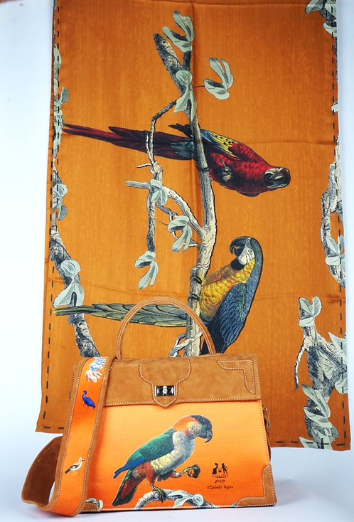 """Foulard Soie """"les perroquets """"gold"""