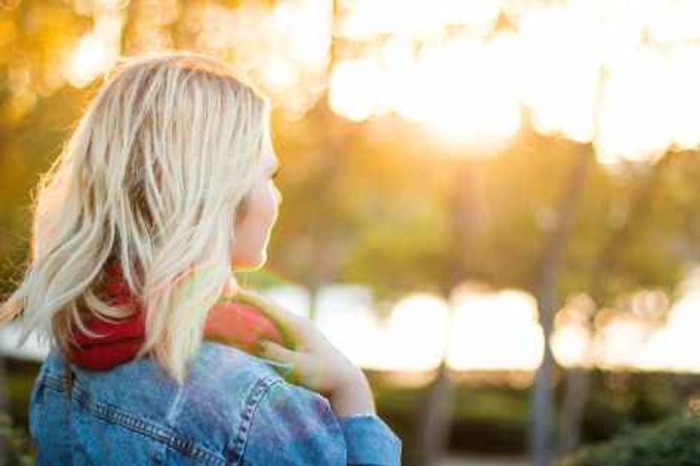 sunset woman girl blonde