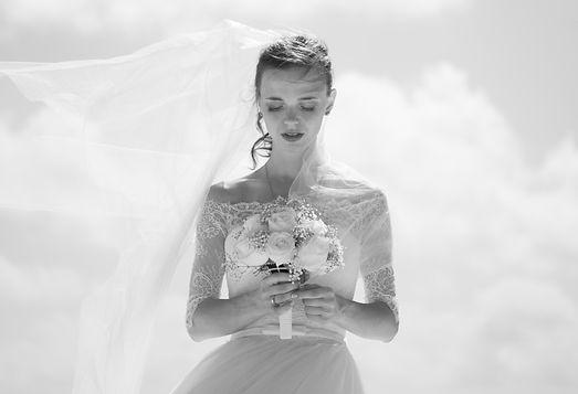 photo mariée noire et blanc à Vannes