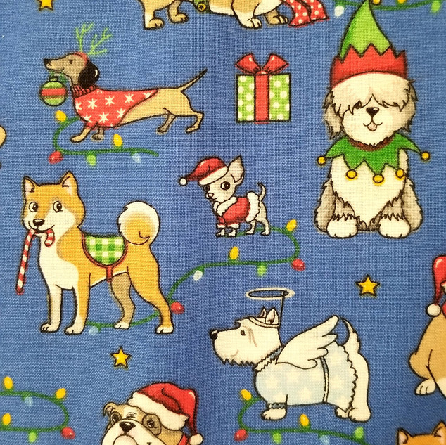 Xmas Dogs in Blue