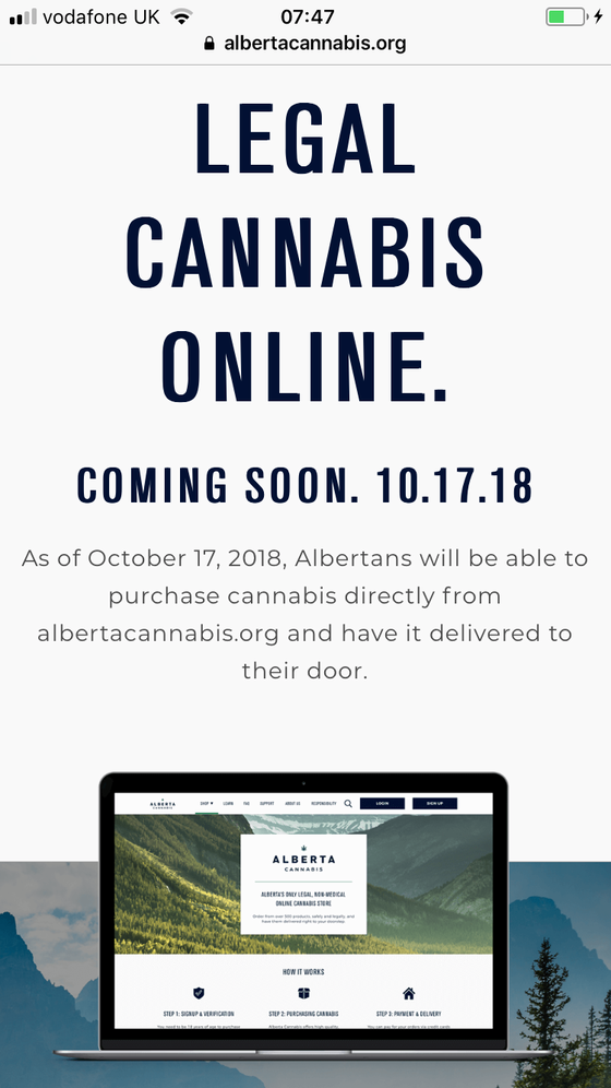 LEGAL CANNABIS ONLINE.COMING SOON. 10.17.18As of October 17, 2018, Albertans will be able to pu
