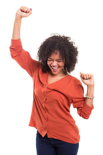 Studio shot: Happy African woman with ra
