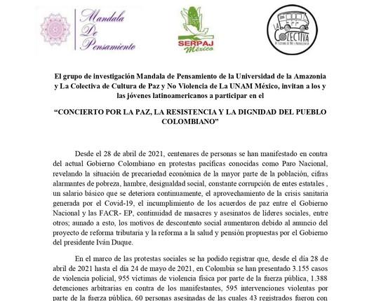 ¡SÚMATE AL CONCIERTO POR LA PAZ, LA RESISTENCIA Y LA DIGNIDAD DEL PUEBLO COLOMBIANO!