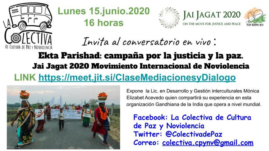 Ekta Parishad: campaña por la justicia y la paz. Jai Jagat 2020 Movimiento Internacional de Noviolencia