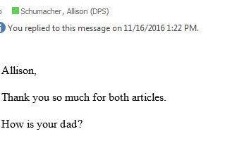 """""""How is your dad?"""""""