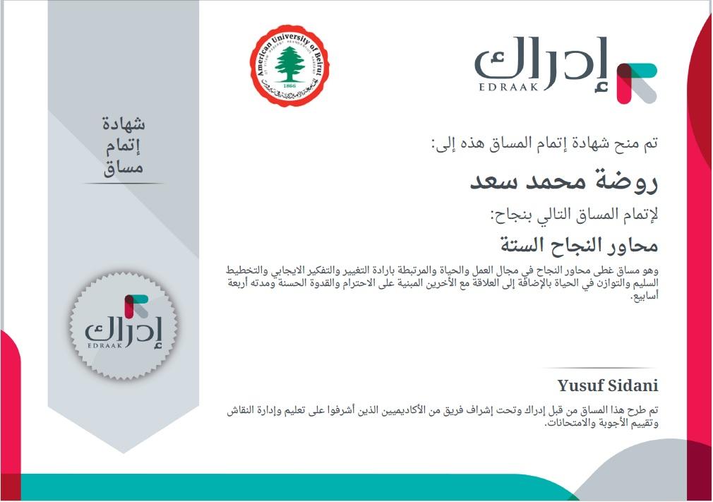 @روضة سعد - محاور النجاح الستة