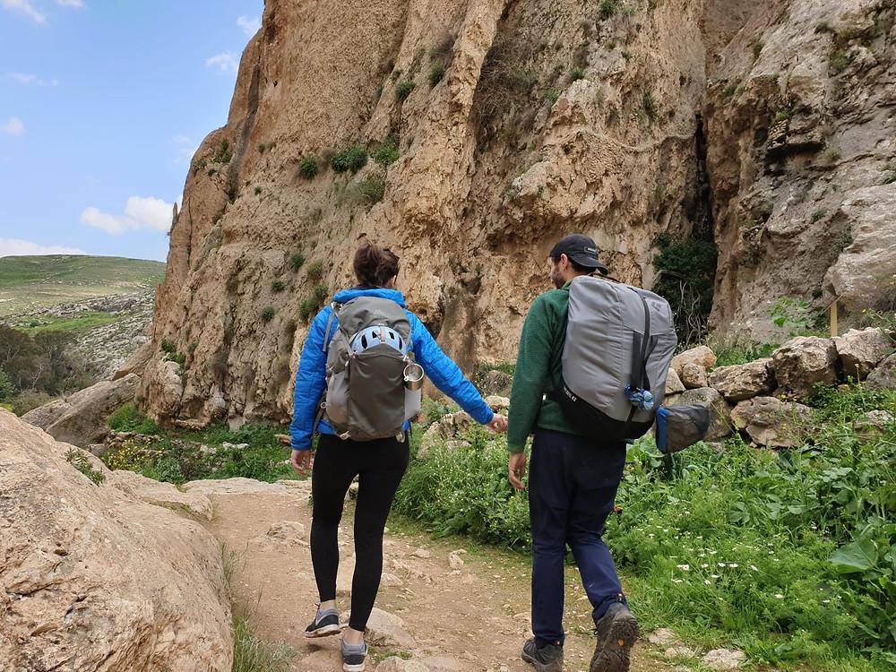 Climbing Couple walking near crag