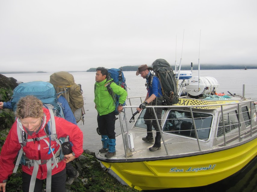 Disembarking the boat Taxi on Shushartie Bay, North Coast Trail