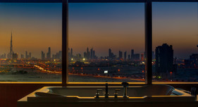Enjoy the panoramic view of the Dubai skyline in your suites.