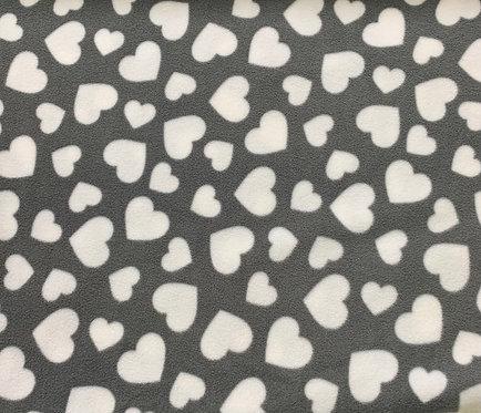 Grey with white hearts fleece