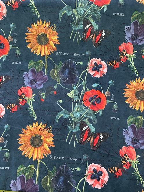 Digitally Printed Velvet Wild Flowers
