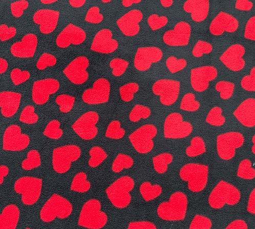 Red hearts on black fleece