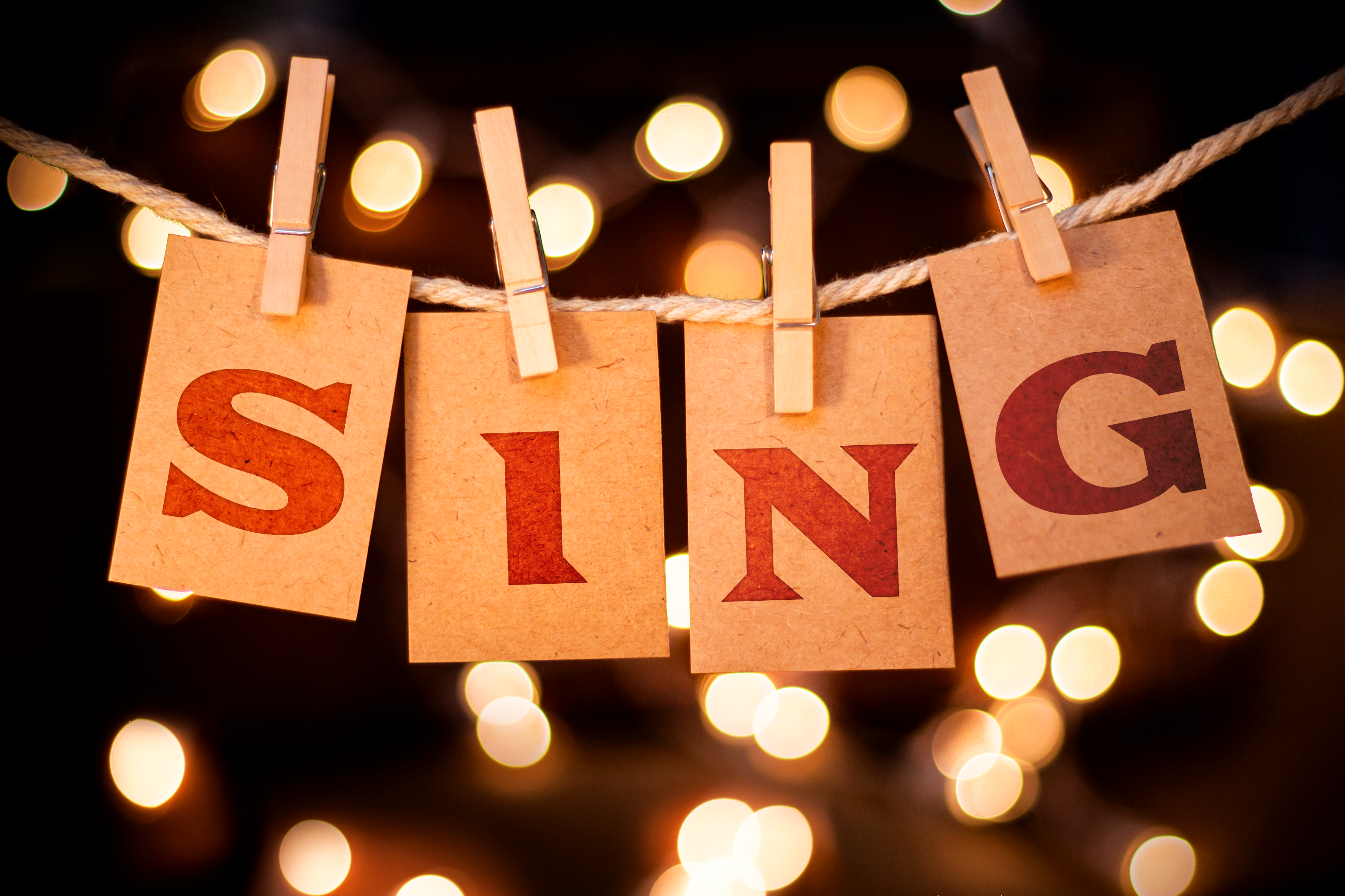 """SING"" hanging with clothespins."