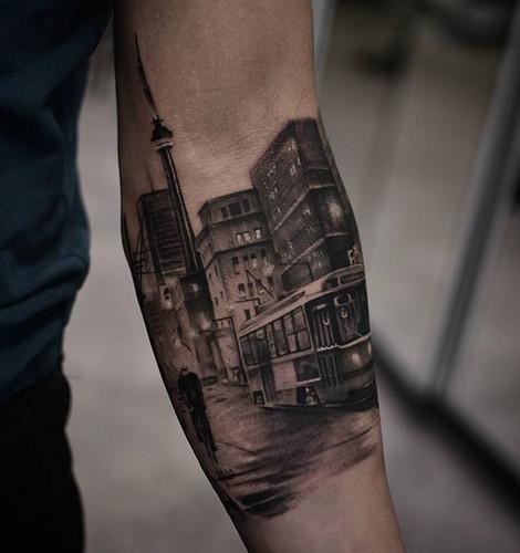 amazing black and white city tattoo
