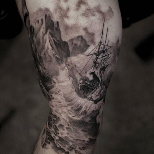 tattoo of pirate ship tattoo in a storm