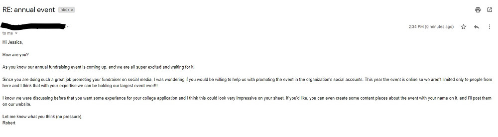 Example of email asking for more help
