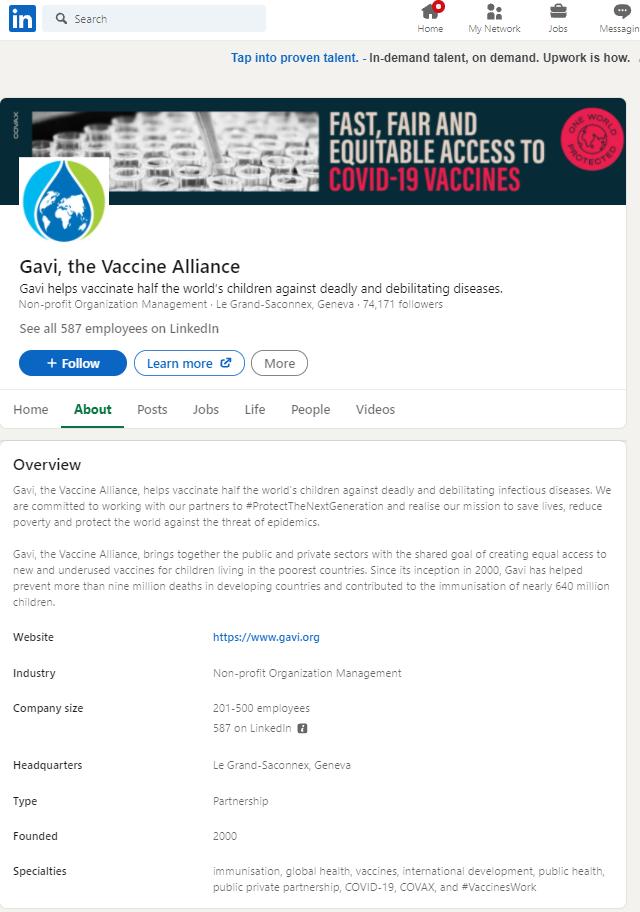 Gavi, The Vaccine Alliance Linkedin profile