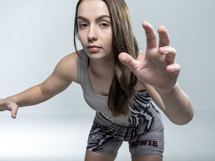 Faces off the Field: Alina Kinsey, sr., Bowie wrestling