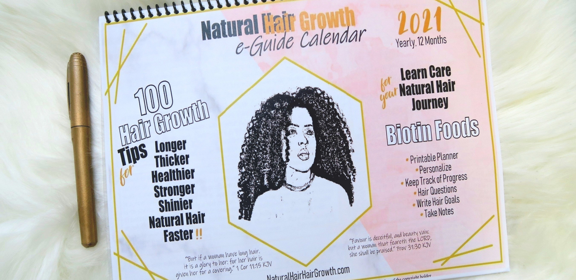 You Can Print Your 'Natural Hair Hair Growth eGuide Calendar' 2021 and/or Use on Your Devices!