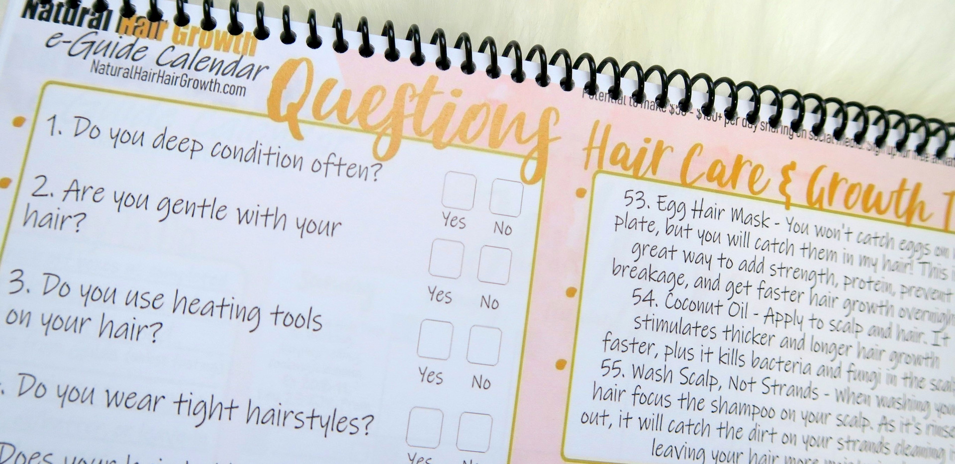 Answer Fun Natural Hair and Hair Growth Questions, Write Down Your Monthly Hair Goals, Take Notes, and More!